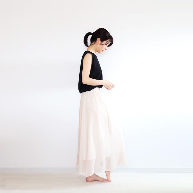 Sabik[サビク] ギャザー・マキシ・スカート / ビーチサンド・ベージュ