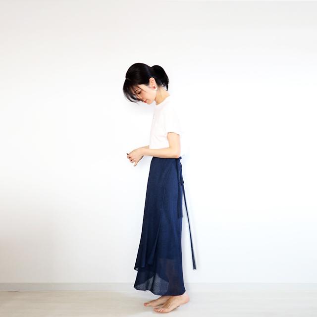 Diphda[ディフダ] マキシ丈ラップ・スカート / ネイビー・ブルー
