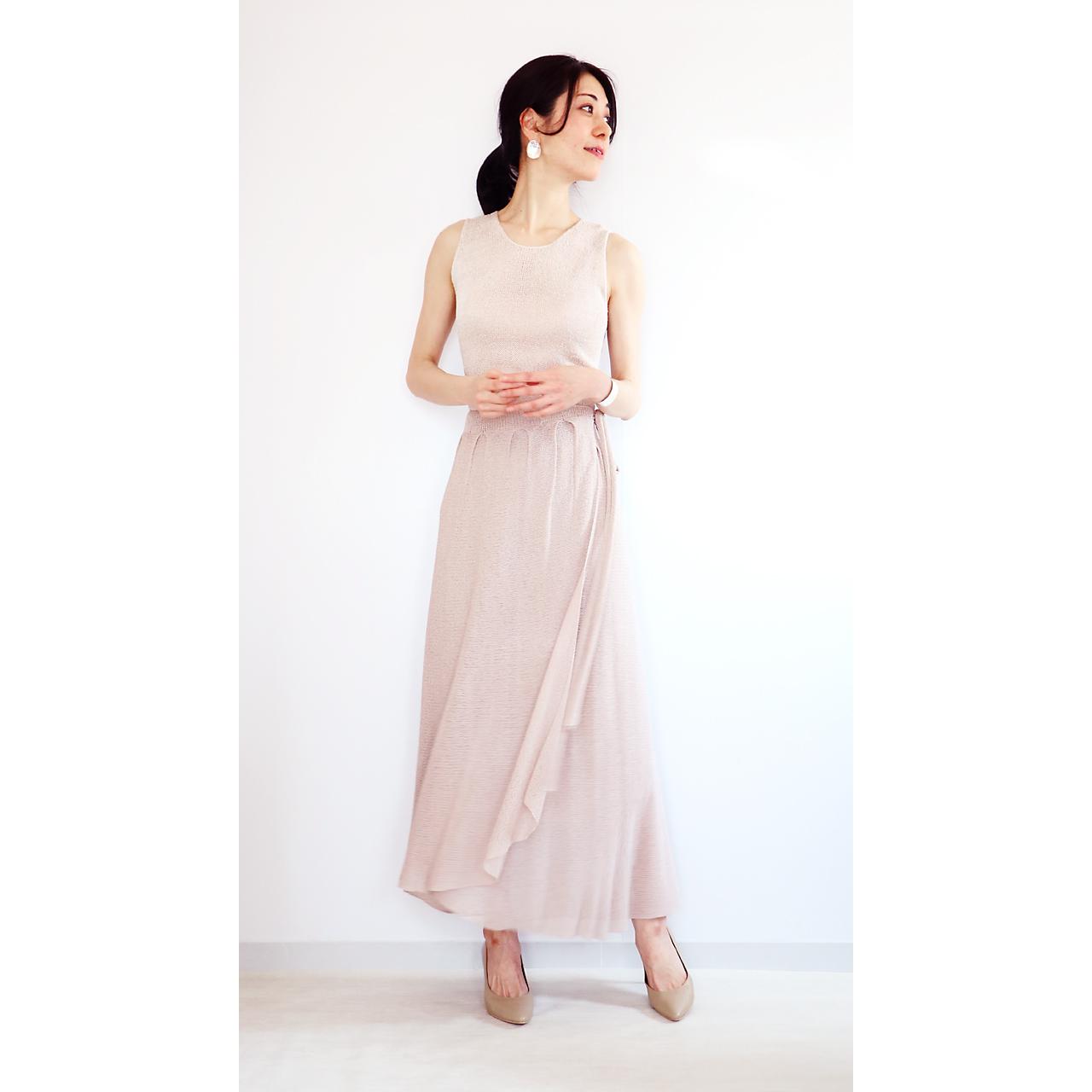 Diphda[ディフダ] マキシ丈ラップ・スカート / ヌード・ベージュ