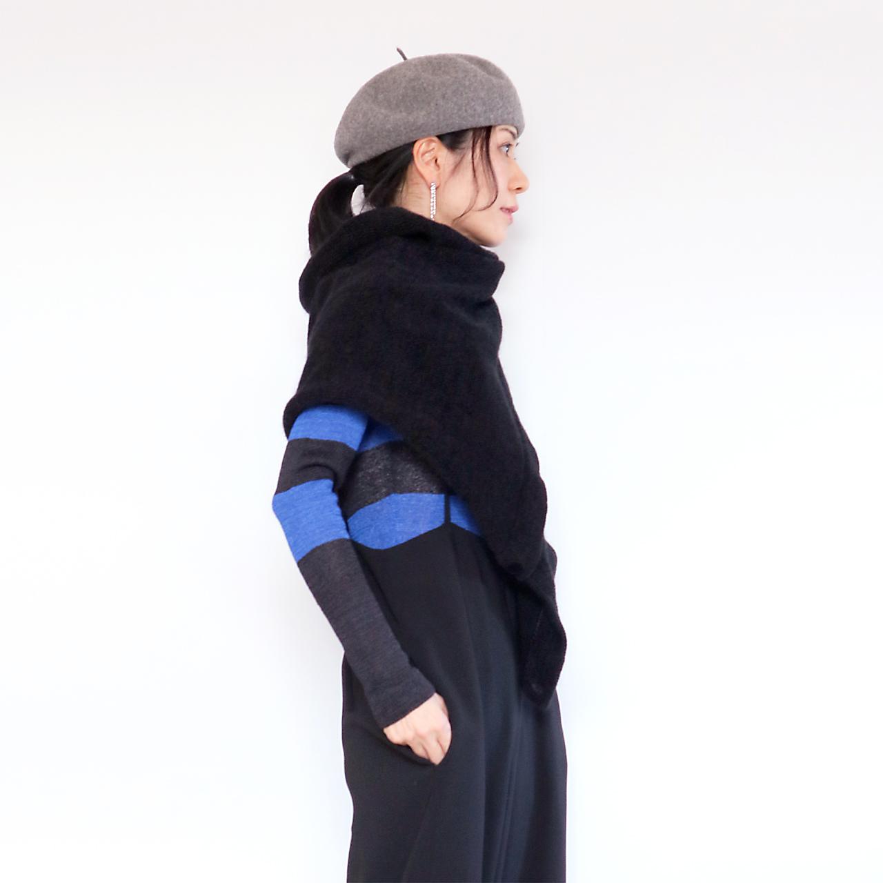 Phecda[フェクダ] シルクモール・ストール・ポンチョ2 / ブラック